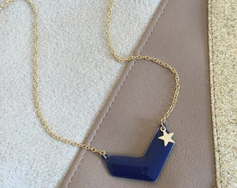 Navy Blue necklace and gold star - woman with softness and poetry jewelry