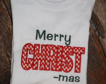 White Long Sleeve Merry CHRIST-mas Shirt Multiple Sizes Available Made to Order, Christmas