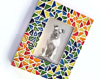 Mosaic Frame, Blue Yellow Green Red Mosaic Frame, Primary Color Frame, Glass Tile Mosaic Frame, Colorful Mosaic Frame,  Rainbow Mosaic Frame