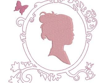 Instant download Frame redwork Silhouette female portrait embroidery design