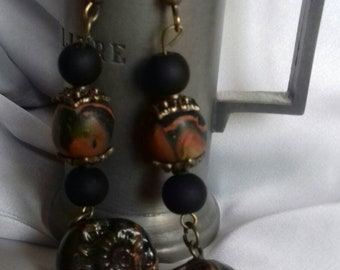 Rustic earrings Earth burnt black lava shell