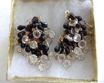 60s Earrings Cascade Earrings High End Jewelry Unsigned Julianna Earrings Formal Earrings Cha Cha Black Crystal Earrings Haute Couture