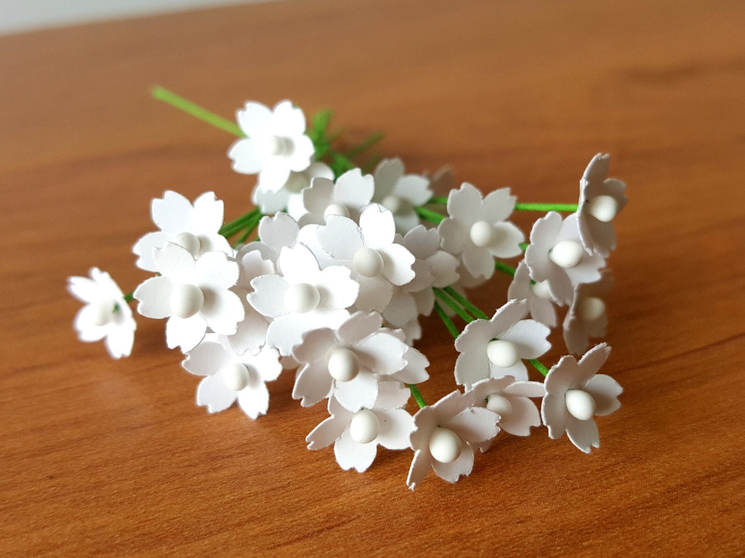 100 Miniature White Paper Flowers 5mm White Flowers