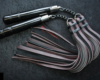"Set of 2, Heavy Chainmail Nunchaku Floggers in burgundy & black leathers with blackened steel ""Japanese 8:4"" chainmail"
