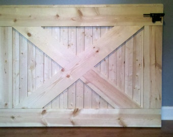 Custom, handmade farmhouse wooden baby/ dog gate. Ready for paint or stain, already sanded with mounting hardware and latch included.