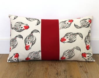 Cushion cover koi carps, hand printed fabric, japanese design inspired, rectangle, limited edition, cotton