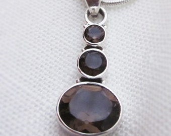 Superb Smokey Quartz Gemstone and Silver Pendant on a Silver Plated Necklace Chain
