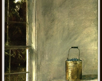 "Berry Bucket from Andrew Wyeth, Andrew Wyeth print, American Artist, Wyeth Art, Wyeth Art, New England Painting, approx 13"" X 17"" tall."