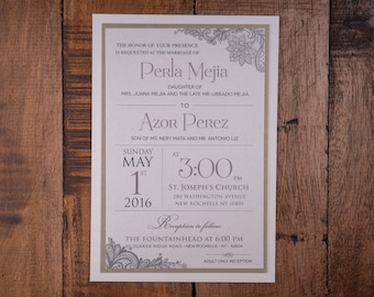 Elegant wedding Invitations, Elegant Invitations, Taupe Wedding Invitation, Taupe Invitation, Lace Invitations,Lace Wedding Invitation