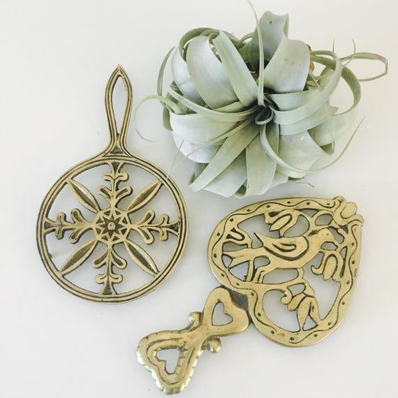Brass Vintage Trivets Set of (2) Ornate Floral Bird Motif Folk Art Style