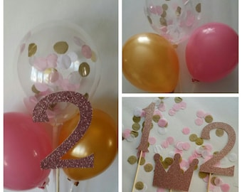 Pink and Gold Balloon Centerpiece
