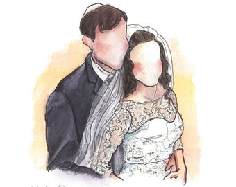 Watercolor Family Portrait: Wedding Day