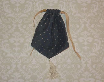 Blue and Tan Reticule- Regency Purse