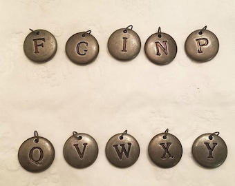 Bronze Antiqued Button-style Lettered charms