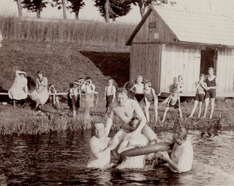 vintage photo Mosh Pit Men Swimming Inner Tube on Lake Onlookers Wrestlers Antics Guys RPPC