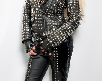 Made to order full heavy metal spiked studded faux leather black Biker jacket  / any size