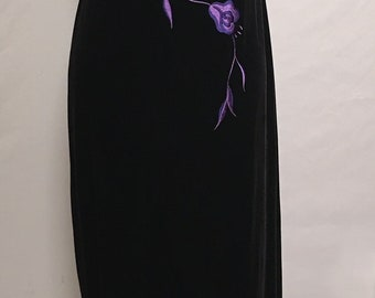 Black velour stretchy formal gown with purple embroidery and satin wrap