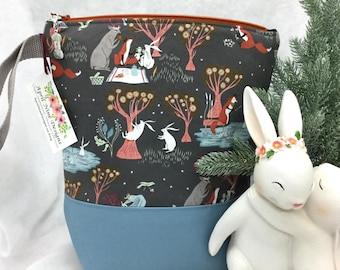 Whimsical Forest Animals Knitting Bag, Knitting Project Bag, CrochetBag, Sock Bag