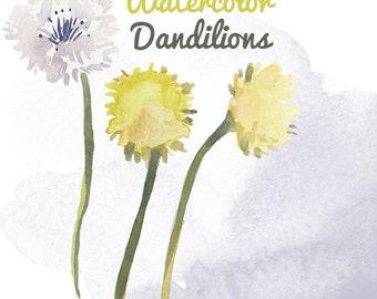 Watercolor Dandelion Weed Flower Clip Art for Scrapbooking Instant Download Digital Flowers Digital Clipart Commercial Use