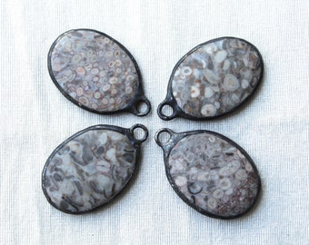 Hand Soldered Fossilized Stone Pendant