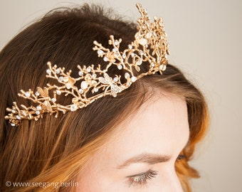 Tiara, Bridal Tiara Vintage, Wedding Diadem, Gold Princess Crown, Woodland Crown, Boho Wedding Tiara, Rustic Crown, Queen, Princess, Dream