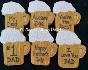 Beer Mug Cookies - Beer Mug Decorated Cookie Favors - 6 Cookies