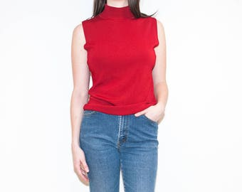 on sale - 90s dark red sleeveless turtleneck / stretchy mock neck knit top / size L