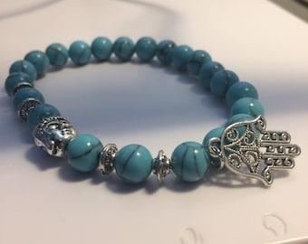 Buddha and Hamsa Beaded Bracelet, Yoga Bracelet, Healing Bracelet - Turquoise Design Handmade Unisex With Silver Plated Accented Buddha