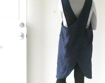 LINEN PINAFORE DRESS - mabel / navy blue / criss cross / linen dress / women linen clothing / smock / apron / made in australia / pamelatang