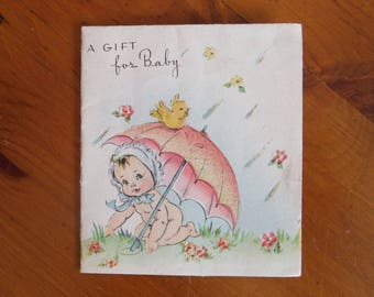 Vintage 1940's Sparkly New Baby Card - '40's Sparkle Baby Girl Baby Boy Congratulations Card - Vintage Glitter New Baby Card Ephemera
