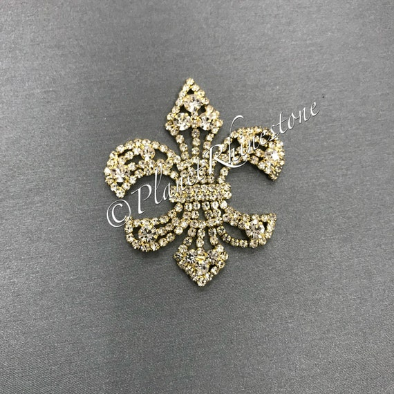 Gold Fleur De Lis Rhinestone Applique #AS-14