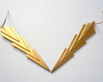 Long lightning bolt earrings Harry Potter lover Long gold earrings Art deco earrings Vintage brass pendants on new 14K gold fill ear wires