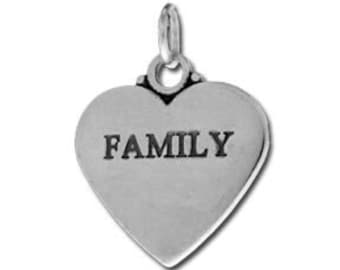 Family Charm - Sterling Silver // Heart Charm