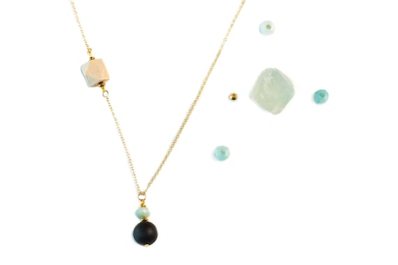 MELANIE Gemstone, Black Agate & Wood Diffuser Drop Necklace (Gold)