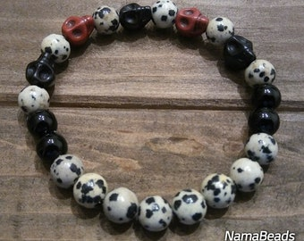 Men Bracelet, Black and White Bracelet, Dalmatian Bracelet, Skull Bracelet