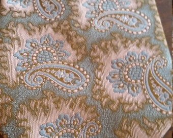 Vintage Paisley Tie Parisian Royal patent loop ready made wide Tie, Tidy Tuck Tab,   Made in New Zealand