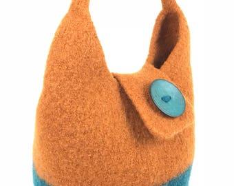Hand Knit Bag, Felted Wool Bag, Color Comforts, Teal Bag, Copper Bag, Knit Felted Purse, Felted  Wool Purse,
