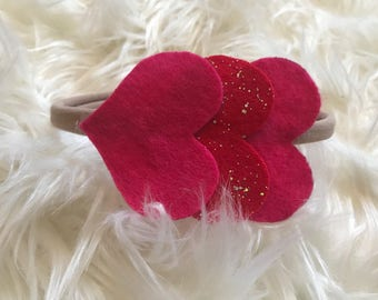 Felt Hearts Sparkle Headband