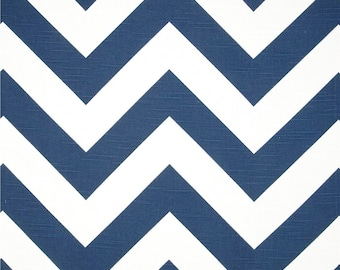 Large Navy Chevron fabric by the YARD Home Decor Upholstery Curtain Pillow Runner  Drapes Premier Prints Zippy blue white zigzag  SHIPsFAST