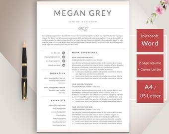 SALE Resume Template CV Template + Cover Letter for Word Professional Resume Design | Instant Download for MS Word
