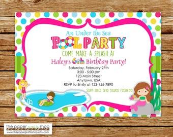 Pool Party Invitation | Pool Party Birthday Invitation | Pool Mermaid Party | Under the Sea Pool Party | Mermaid Party | Mermaid Birthday