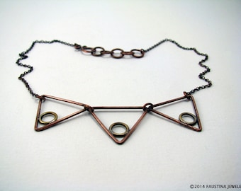Geometric bib necklace Triangle necklace Copper and brass necklace Metalwork Collar necklace Triangle circle necklace Mixed metal necklace