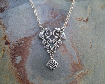 Flowers and Lace Sterling Silver Necklace RF344