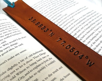 Personalized Tan Leather Bookmark - Custom Co-ordinates - Latitude Longitude - Birthday Gift - Anniversary - Christmas Custom Leather Gift