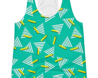90s Tank Top Printed With Shapes, Triangles, Geometric Memphis 90s Top, 90s Workout Clothes, Vaporwave Womens 90s Clothing, 80s Printed Tank