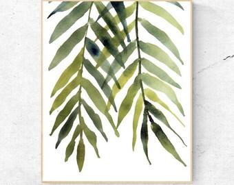 Tropical Leaves Print, Monstera Art, Kitchen Decor, Contemporary Palm Leaf Print, Printable Green Lush Artwork Wall Poster, Digital Download