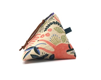 Triangular Pouch, coin purse, Zippered Pouch, make-up pouch, Floral Pouch