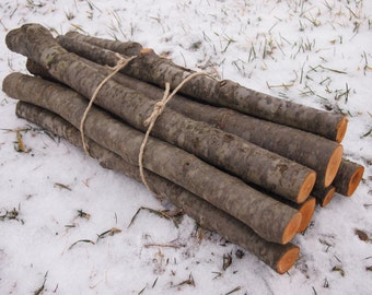 9 Natural ALDER WOOD Logs in a Bundle - Woodland Decor - Country Decor - Rustic Wedding