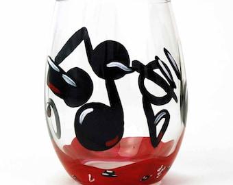 Music Note Stemless Wine Glass