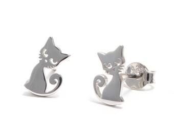 Kitty Stud Earrings 925 sterling silver